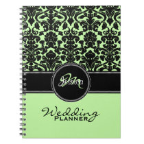 Monogram Green Black White Damask Wedding Planner Spiral Notebooks