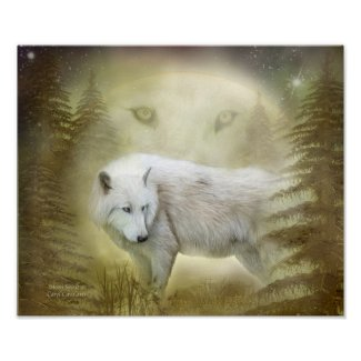 Moon Spirit 2 - White Wolf Fine Art Poster/Print