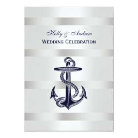 Nautical Blue Anchor Silver Wt BG V Wedding 5x7 Paper Invitation Card