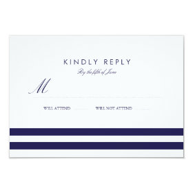 Nautical Navy Wedding RSVP 3.5x5 Paper Invitation Card
