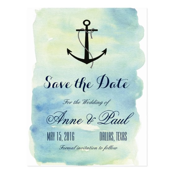 Nautical watercolor Save the Date Postcard