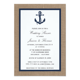Navy Blue Anchor On Burlap Nautical Wedding Shower 5x7 Paper Invitation Card