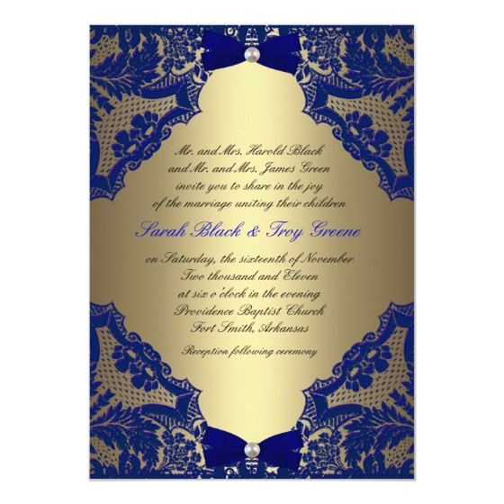 Navy blue and Gold Wedding Invitation