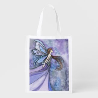 Northern Wind Fairy Fantasy Art Grocery Bags