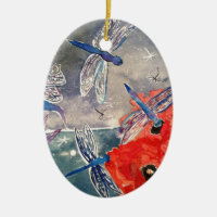 Nymphs and Dragonfly Watercolor Painting Double-Sided Oval Ceramic Christmas Ornament