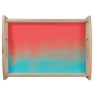 Ombre Watercolor Texture - Teal and Coral Serving Trays