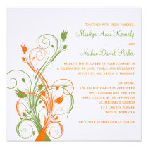 Orange Green White Floral Sq. Wedding Invitation