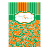 Orange, Green, White Floral Striped Wedding Invite