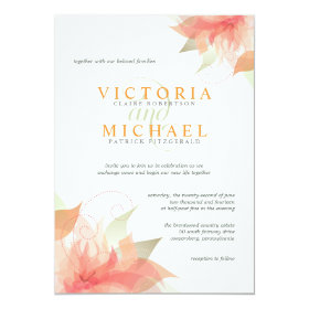 Orange Ice Metallic White Wedding Invitations 2
