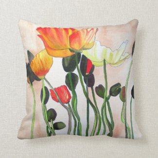 Orange poppies watercolour flower art pillow