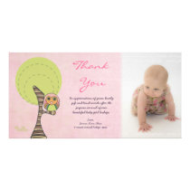 Owl Thank You New Baby Girl Arrival Gift Photocard Photo Card Template