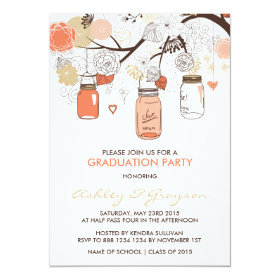 Peach Mason Jars Graduation Party Invitation