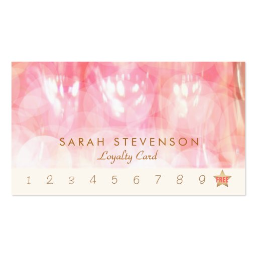 Pink Bokeh Spa and Salon Loyalty Punch Card Business Card