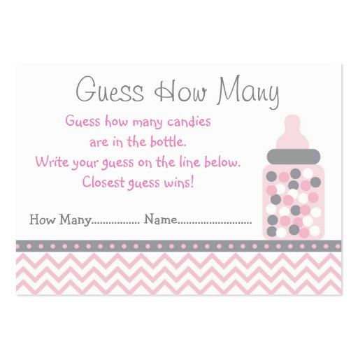 Pink Chevron Guess How Many Cards Large Business Card