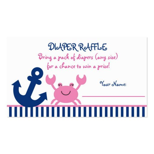 Pink Crab Diaper Raffle Tickets Business Card