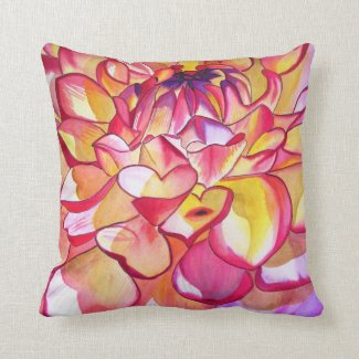Pink Dahlia watercolour art abstract flower Throw Pillows