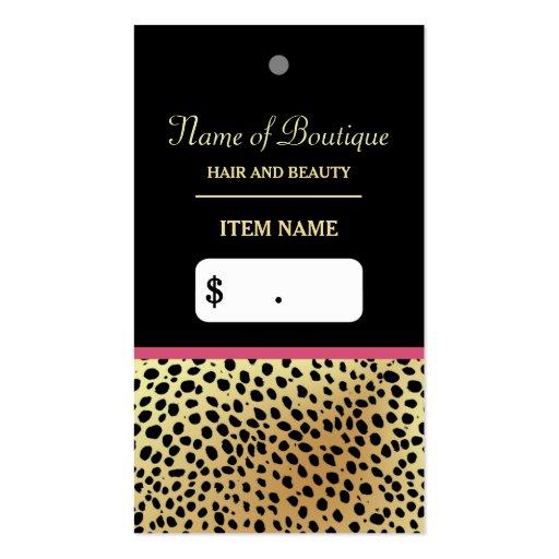 Pink Gold Cheetah Print Beauty Boutique Hang Tag Business Card