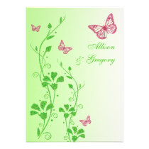 Pink, Green Floral Butterflies Wedding Invitation