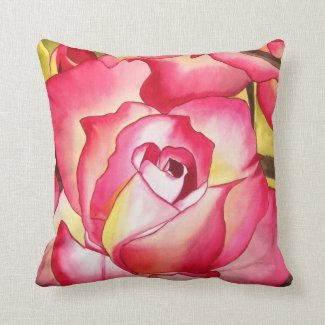 Pink Hannah Gordon Rose floral Throw Pillow
