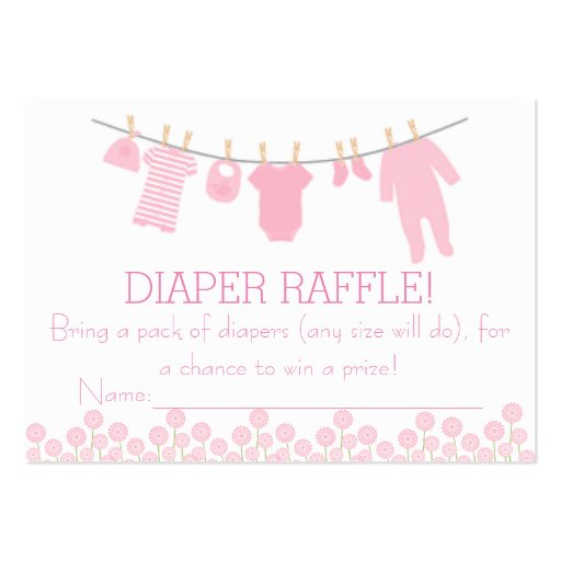 Pink Little Clothes Diaper Raffle Tickets Large Business Card