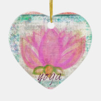 Pink Lotus Flower yoga Double-Sided Heart Ceramic Christmas Ornament