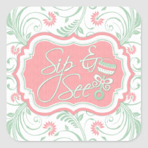 Pink Mint Green Floral Sip N See Baby Shower Sticker