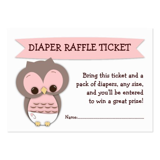 Pink Owl Baby Shower Diaper Raffle Ticket Insert Large Business Card