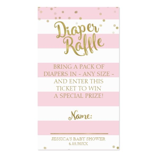 Pink Stripes Baby Shower Diaper Raffle Insert Girl Business Card