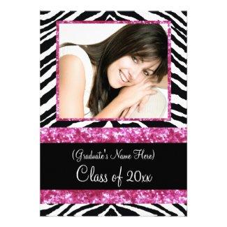 Pink Zebra Sparkle Girls Graduation Party Personalized Invitation