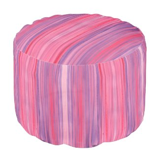 Plum-Pink and Purple striped watercolor Round Pouf