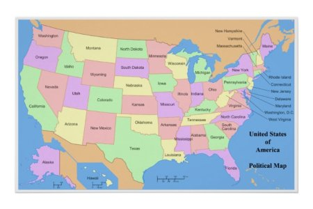 political map of the united states of america poster | zle