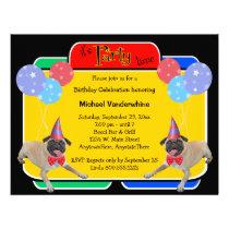 Pug Birthday Barker Announcements