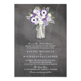 Purple Garden Mason Jar Chalkboard | Wedding 5x7 Paper Invitation Card