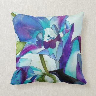 Purple Singapore Orchid flower watercolor art Throw Pillows