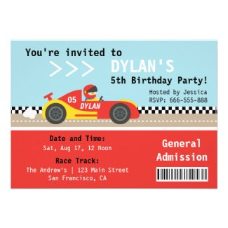 Racing Car, Birthday Party, Boys Admission Ticket Custom Invitations