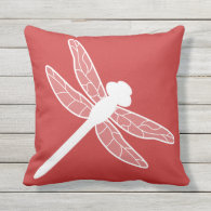 Red And White Dragonfly Print Throw Pillows