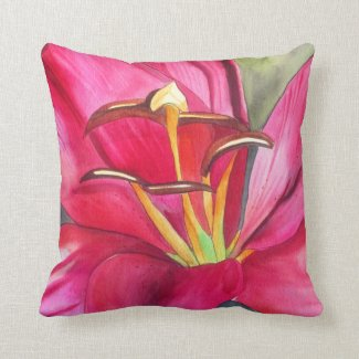 Red day lily original watercolor flower art pillow