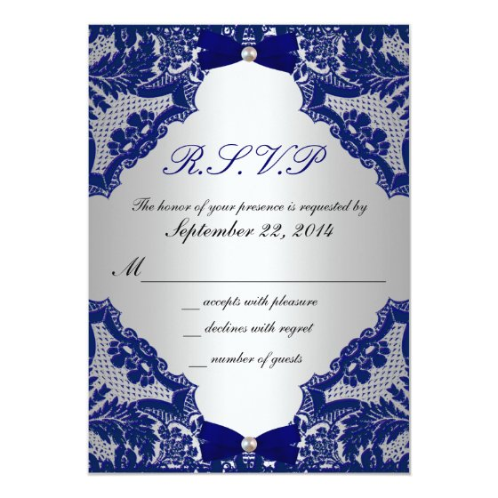 RSVP Navy blue and Silver Wedding Invitation