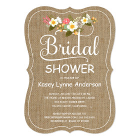 Rustic Burlap Floral Wreath Bridal Shower 5x7 Paper Invitation Card