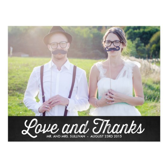 RUSTIC CHALKBOARD WEDDING PHOTO THANK YOU POSTCARD