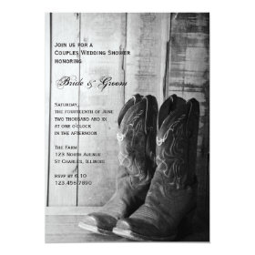 Rustic Cowboy Boots Western Couples Wedding Shower 5x7 Paper Invitation Card