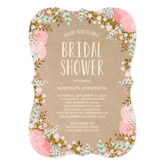 Rustic Flowers | Bridal Shower Invitation