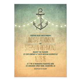 Rustic lights nautical anchor wedding 5x7 paper invitation card