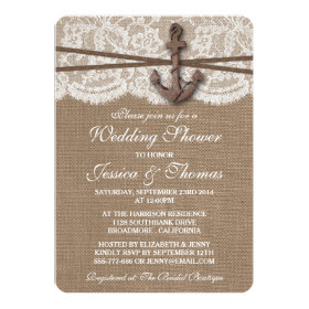 Rustic Nautical Anchor Beach Wedding Shower 5x7 Paper Invitation Card