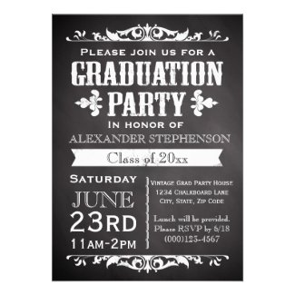 Rustic Slate Graduation Party Invitation