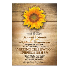rustic wood country sunflower wedding invitations