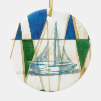 Sailboat Sailing Watercolor Vintage Look Art Double-Sided Ceramic Round Christmas Ornament