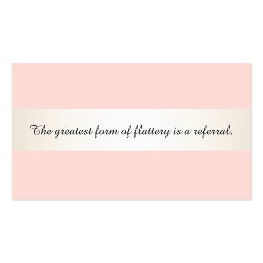 Satin Stripe Pink Beauty Salon & Spa Referral Card Business Card