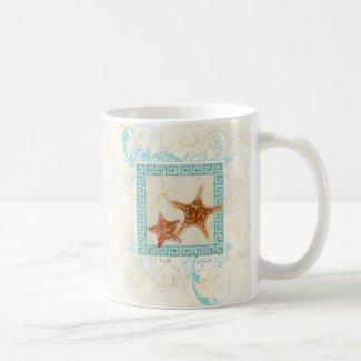 Starfish Sea Shells Ocean Greek Key Pattern Beach Coffee Mugs