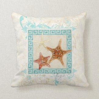 Starfish Sea Shells Ocean Greek Key Pattern Beach Throw Pillows